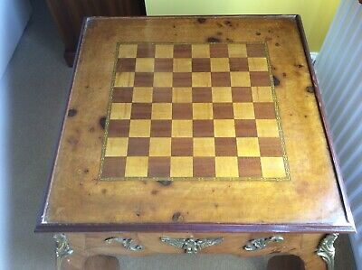 Vintage Flip Top Chess Board Table On Cabriole Supports