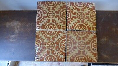 4 Antique Flanders Lille Delft  ? ceramic Tiles. 4 Anciens carreaux  XVIIIth C
