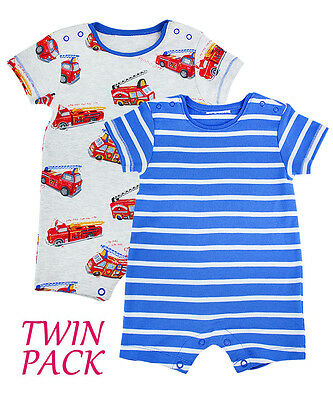 pack of 2 short sleeve romper set blue & white stripes and Fire Engine