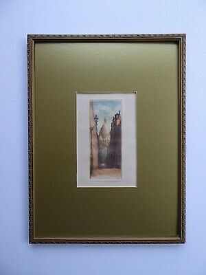SUPERB Orig ANTIQUE French Aquatint ETCHING 'Montmartre' PARIS By LEOPOLD ROBIN