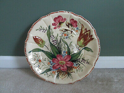 Antique Beautiful Large Floral Hand Painted Scalloped Plate/platter - Japan