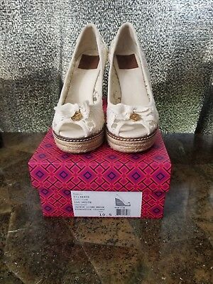 e46536a76c3c Tory Burch Size 10.5 Jackie Espadrille Wedges Peep Toe shoes White Cream  Crochet