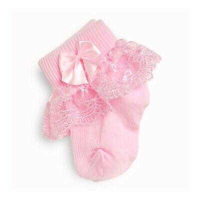 Frilly Lace Baby Girls Socks Pearl Ribbon Baby Cream White Pink Blue 000 to 2