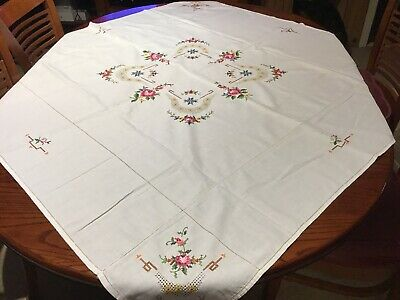 A Beautiful Cross Stitch Tablecloth In Good Used Condition.