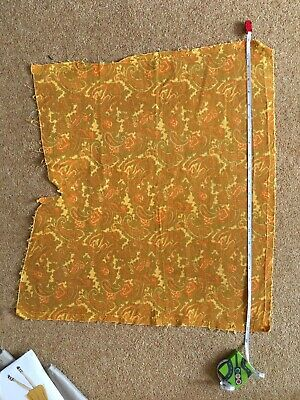 "Retro Vintage Paisley Cord Yellow Orange Material Frabric 23"" x20"" x18"""