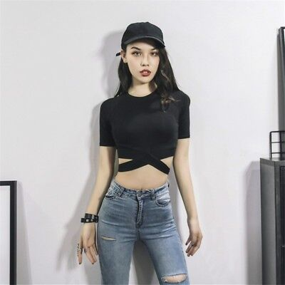 Women Crop Top Bandage Sexy Black Summer Shirt Tops Gym Fitness Yoga Slim Tshirt