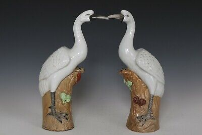 Fine Beautiful Chinese Pair White Glaze Porcelain Cranes Statues