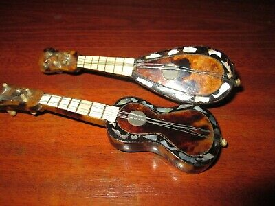 Vintage Miniature Mandolin & Guitar Faux Tortoiseshell & Mother of Pearl