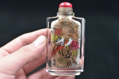 China master Hand Painted Birds flowers nside painting glass snuff bottle P197