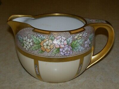 Antique Pickard Hand Painted China Pitcher Gold / Floral