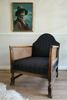 Antique Bergere Cane Library Armchair Chair with Claw Feet