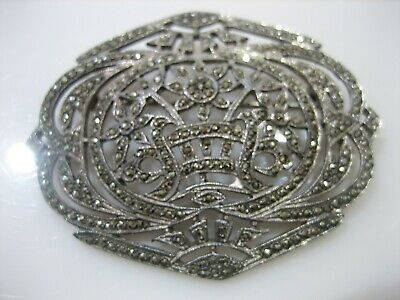 Antique Sterling Silver Marcasite Large Oval Brooch Pin 15.7 Grams