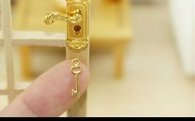 Miniature Dolls house House Accessories 1:12th scale Gold Door Handle & key