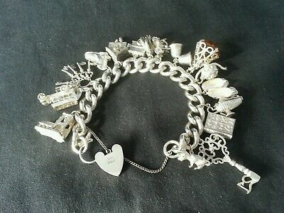 Vintage .925 Sterling Silver HEAVY CHARM BRACELET  With 16 Charms (127g)