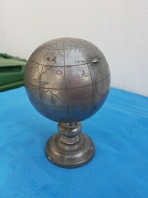 Vintage Chinese Pewter Globe Tobacco Or Tea Caddy