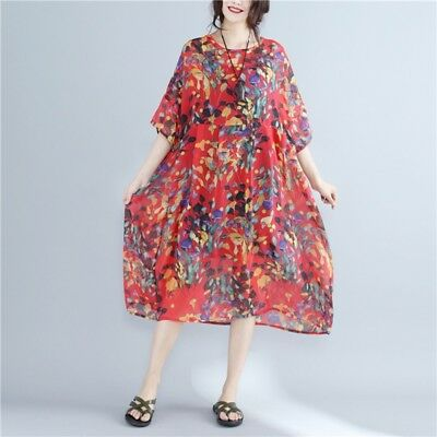Womens Floral Chiffon Short Sleeve Casual Baggy Dress High Waist Pregnant Tunic