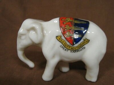 """Willow Art Crested Ware China Walking Elephant, 3"""" Long, Great Yarmouth Crest"""