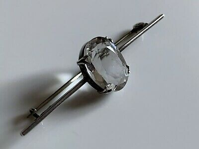Antique Art Deco Hallmarked Solid Silver Clear Faceted Stone Brooch