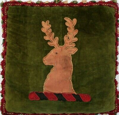 18th c. Antique Coat of Arms Green Silk Velvet Pillow