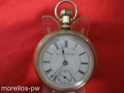 1886 COLUMBUS WATCH CO SIZE 18s POCKET WATCH GOLD FILLED OPEN FACE 11J RUNNING