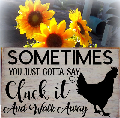 SIGN Rustic Wood funny~ CLUCK IT ~ Farmhouse CHICKEN COUNTRY HOME KITCHEN DECOR