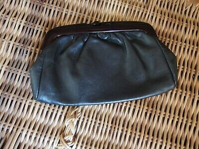 Vintage Early 1980's Black Leather-Look Vinyl Clutch Bag with Plastic Frame