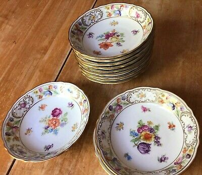 Schuman Dresden Flowers Empress  Set of 12 Dessert / Berry Bowls