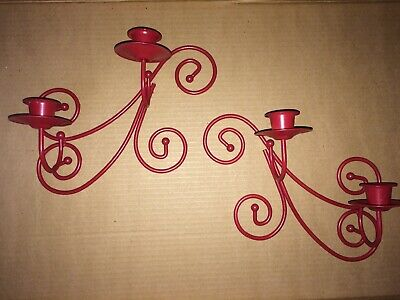 Vintage Metal Red Candlestick Wall Scones Holder Swirl Decor Retro Punk