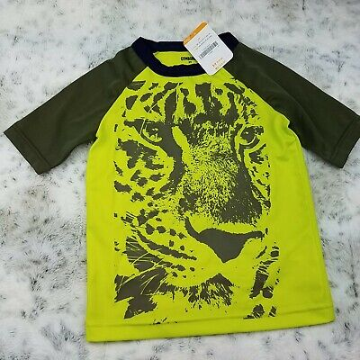 Gymboree Boys Toddler Swim Top Size 3T Green Tiger Print Kids UV Protection New
