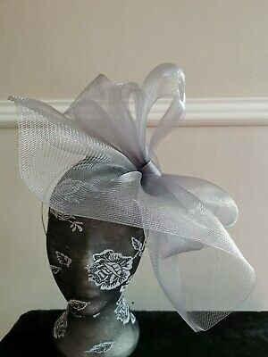 grey crin fascinator headband headpiece wedding party piece race ascot