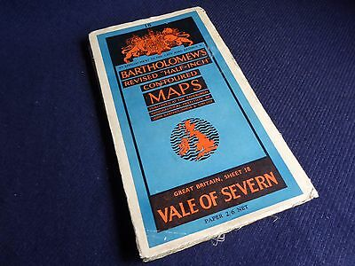 Vale of Severn, Vintage Bartholomew's Revised Half-Inch Contoured Map, Sheet 18