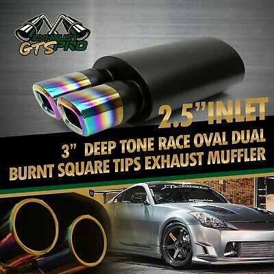 1X SPORT RACE OVAL EXHAUST MUFFLER+DUAL SQUARE TIPS TRACKER STYLE FOR BIMMER