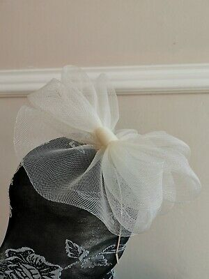ivory off white crin fascinator headband head piece wedding race ascot bridal