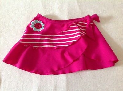 Girls Age 6-9 Months Swim Beach Sarong/Skirt Pink Flower Motif Design