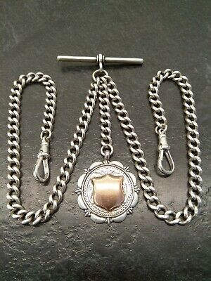 Antique Victorian Silver Double Albert Pocket Watch Chain & Fob. 1888-89, 39g.