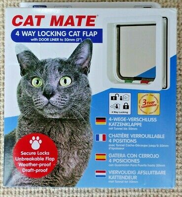 Cat Mate 4 Way Locking Cat Flap (235W) White New Open Box Free UK P&P