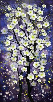 HH393 Hand-painted Abstract oil painting White flower tree CANVAS UNFRAMED 48""
