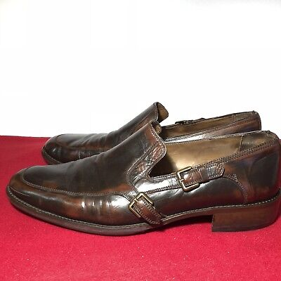 50bc0a328310 Rare John Varvatos Collection Sz11 Double Strap Loafers Distressed Brown  Leather