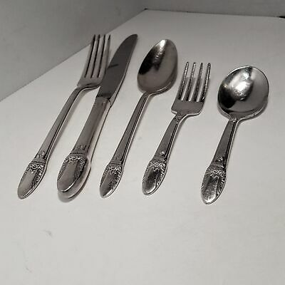 ROGERS BROS INTERNATIONAL SILVERPLATE FIRST LOVE FLATWARE 5 piece YOUTH BABY SET