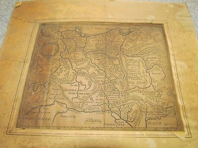 Antique Historical map of Germany, Roman Emperors, Cluver Old
