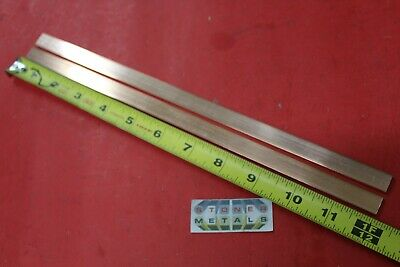 """2 Pieces 1/8"""" x 1/2"""" C110 COPPER BAR 12"""" long Solid Flat Mill Bus Bar Stock H02"""