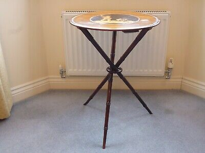 Regency Gypsy Table With Central Marquetry Panel & Cross Over Bamboo Legs C.18