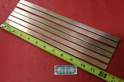 """6 Pieces 1/8"""" x 1/2"""" C110 COPPER BAR 12"""" long Solid Flat Mill Bus Bar Stock H02"""