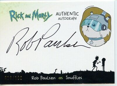 2018 Cryptozoic Rick and Morty Autograph Card - ROB PAULSEN as SNUFFLES 010/100