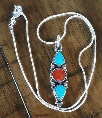 925 Sterling Silver Plated & Turquoise Coral Pendant  Necklace BOHO Western