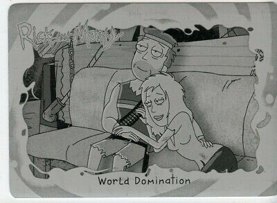 2018 Cryptozoic Rick and Morty Black Printing Plate - World Domination