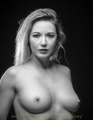"Modern Nude Woman Portrait 8.5x11"" Photo Print Naked Female in Black & White Art"