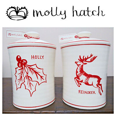 🆕Molly Hatch 2 CHRISTMAS CANISTERS/Cookie Jars Reindeer Holly Red White