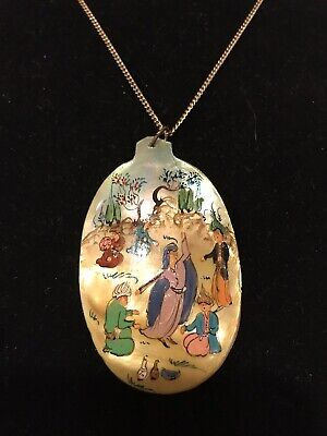Vintage/Antique Persian Hand Painted Made Iran Shell Pendant Necklace RARE ...