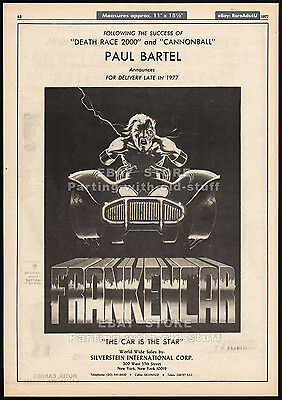 FRANKENCAR__Original 1977 Trade print AD / poster__PAUL BARTEL__unproduced film